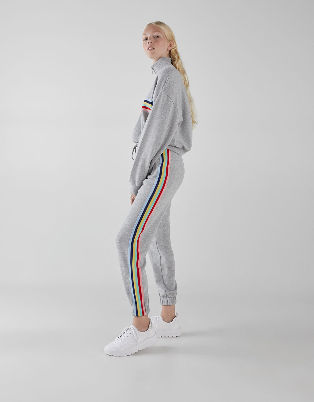 Plush joggers with side stripes