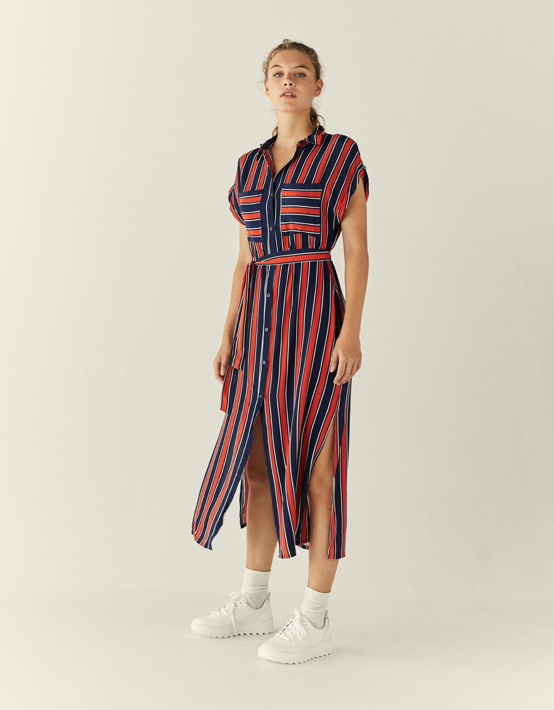 Lange jurk met overhemdkraag