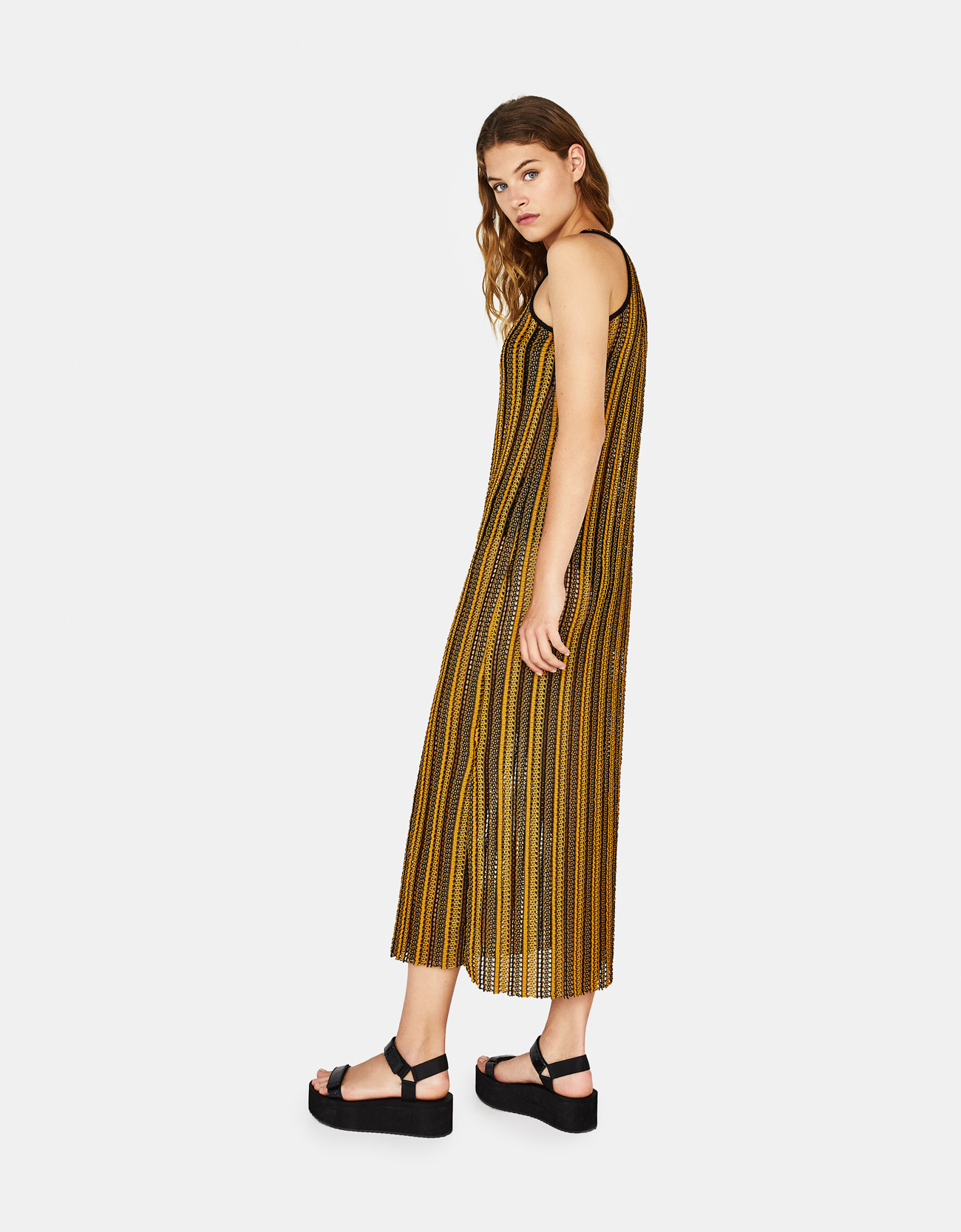1c790d742645 Long striped dress - Dresses - Bershka Azerbaijan