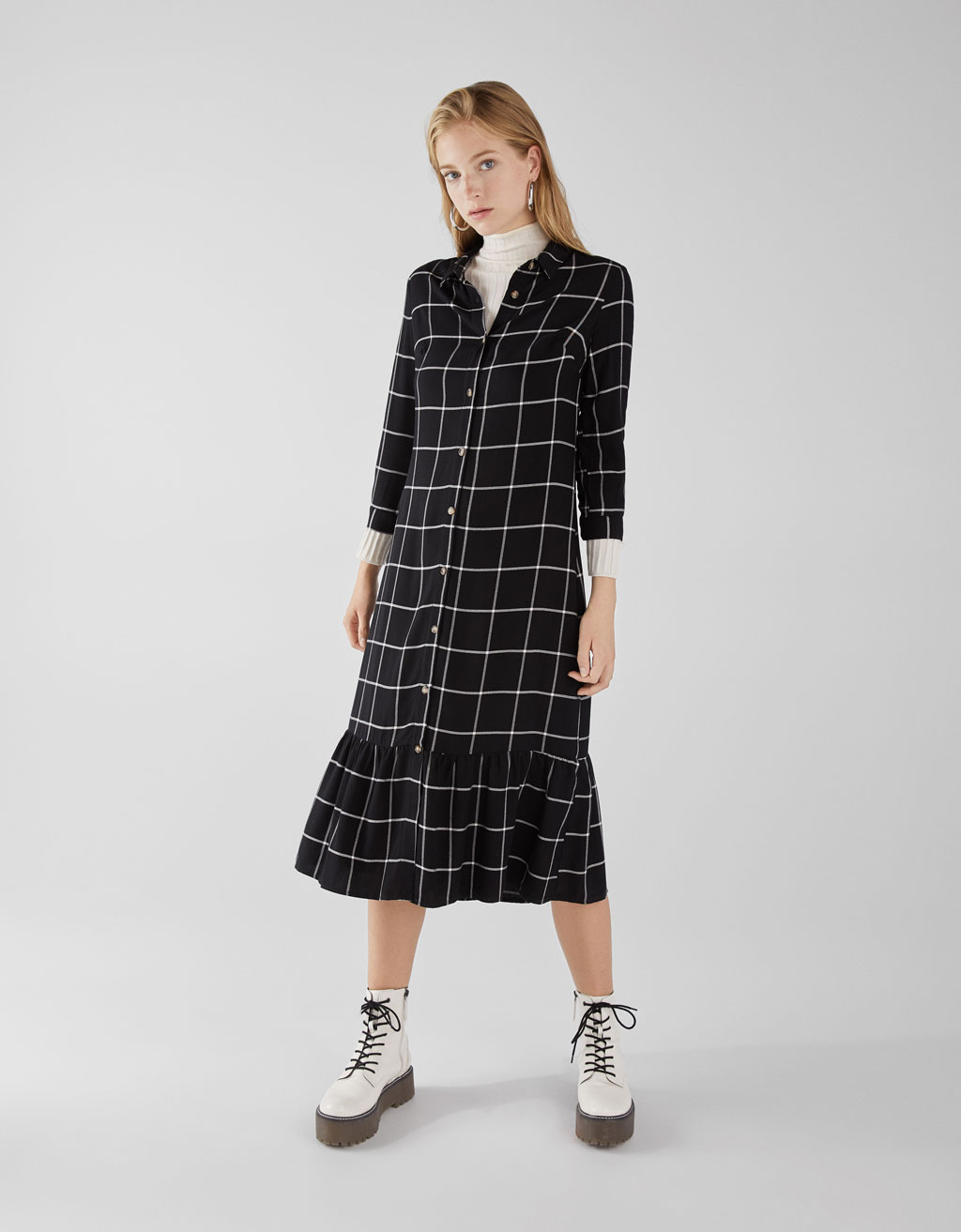 Shirt dress with ruffle