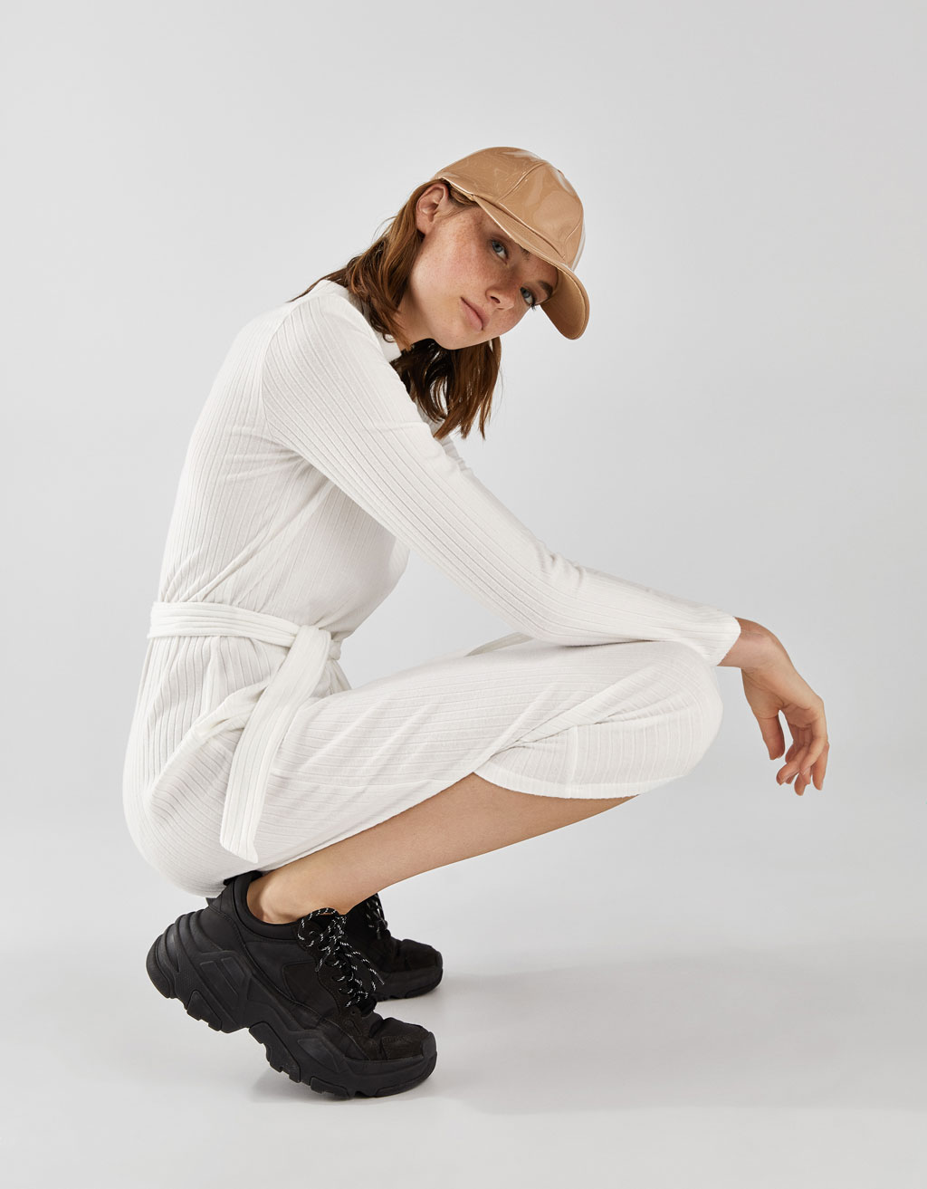 Ribbed Dress With Belt by Bershka