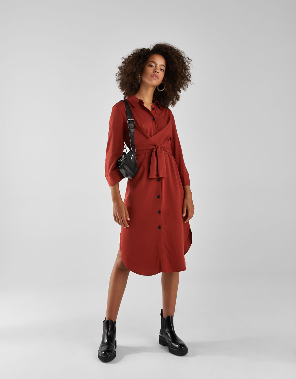 Long shirt dress with belt
