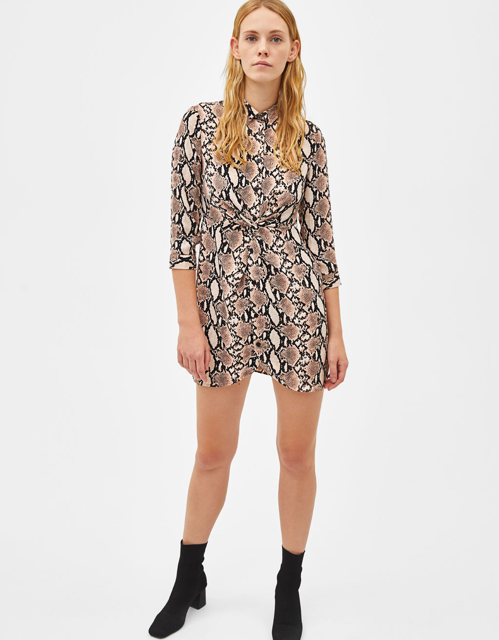 Snakeskin print shirt dress - Animal Print - Bershka Philippines 24cf64f6e