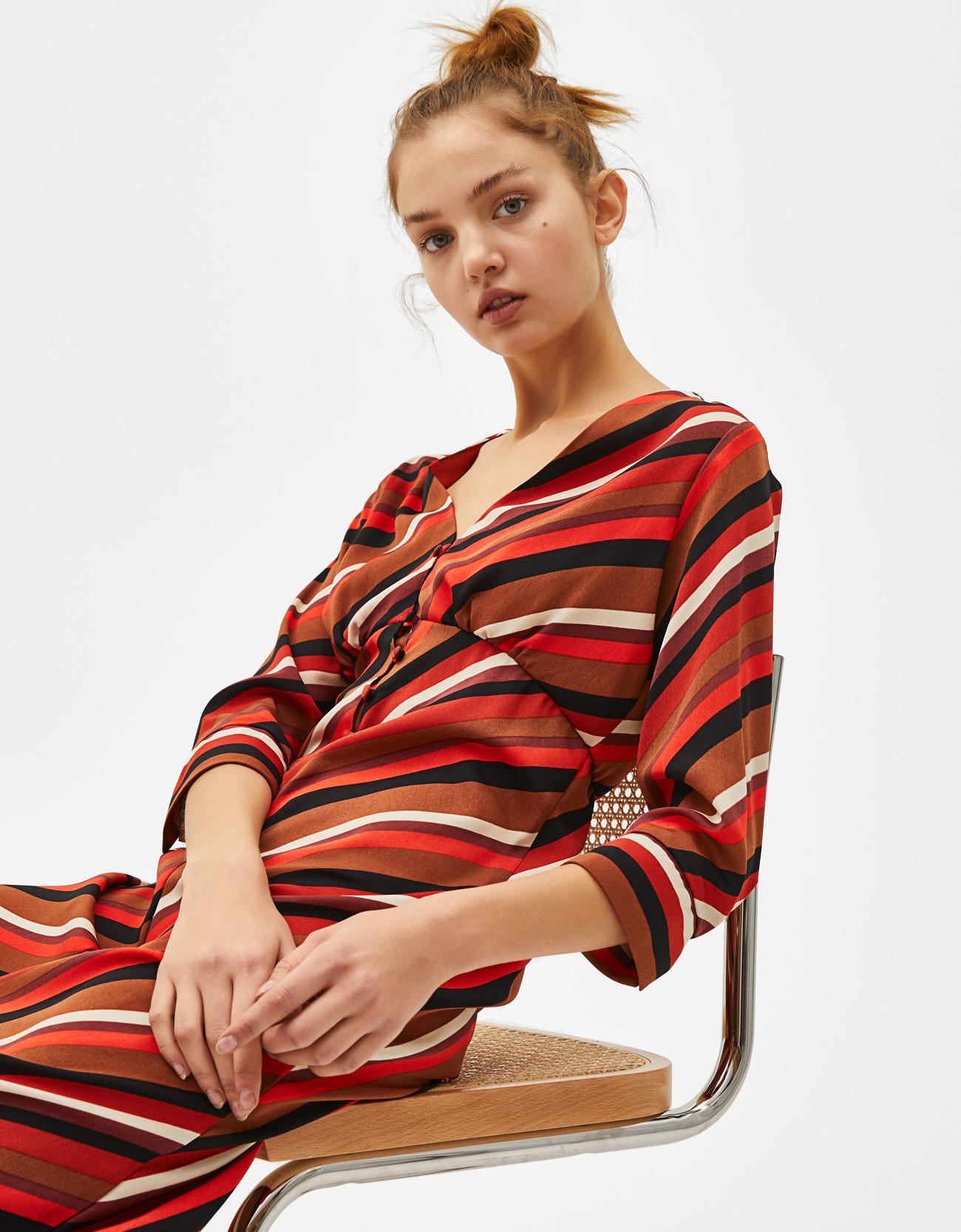 b887191a8d8 Flowing striped dress - Dresses - Bershka Lithuania