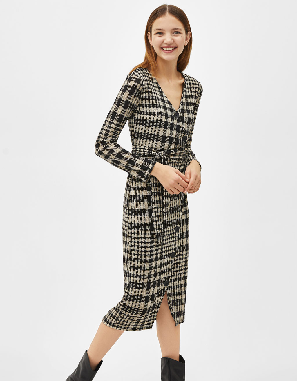 Check wrap midi dress