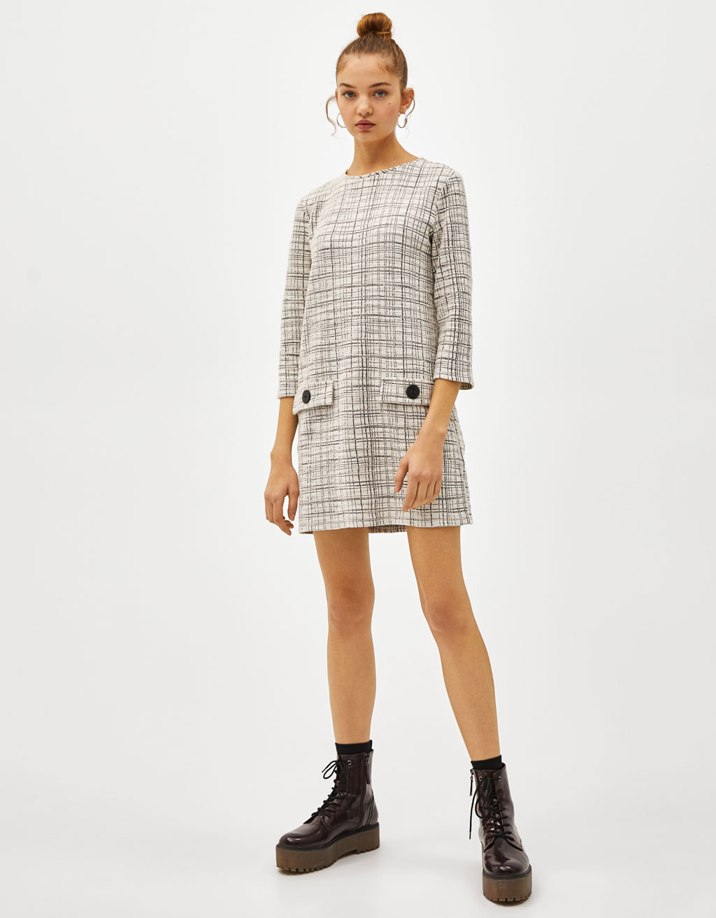 Tweed dress with pockets