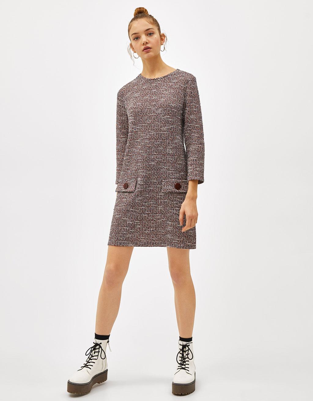 e6f8ca9ca73a31 Shoptagr | Tweed Jurk Met Zakken by Bershka