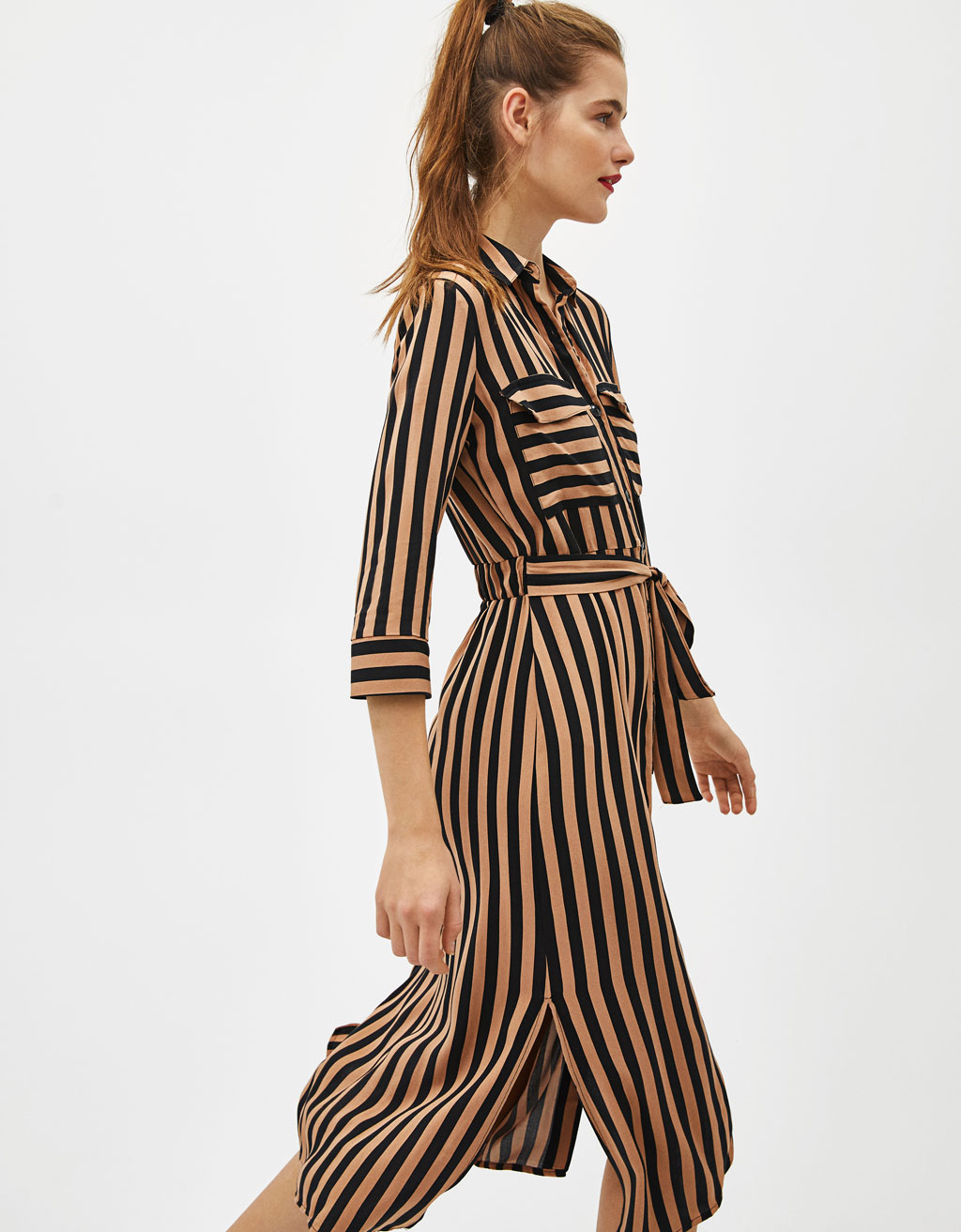 Gestreepte shirtdress