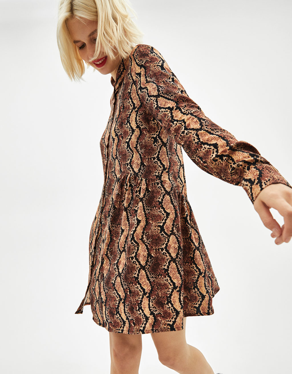 Snakeskin print shirt dress - Dresses - Bershka Philippines 2b8f5b81e