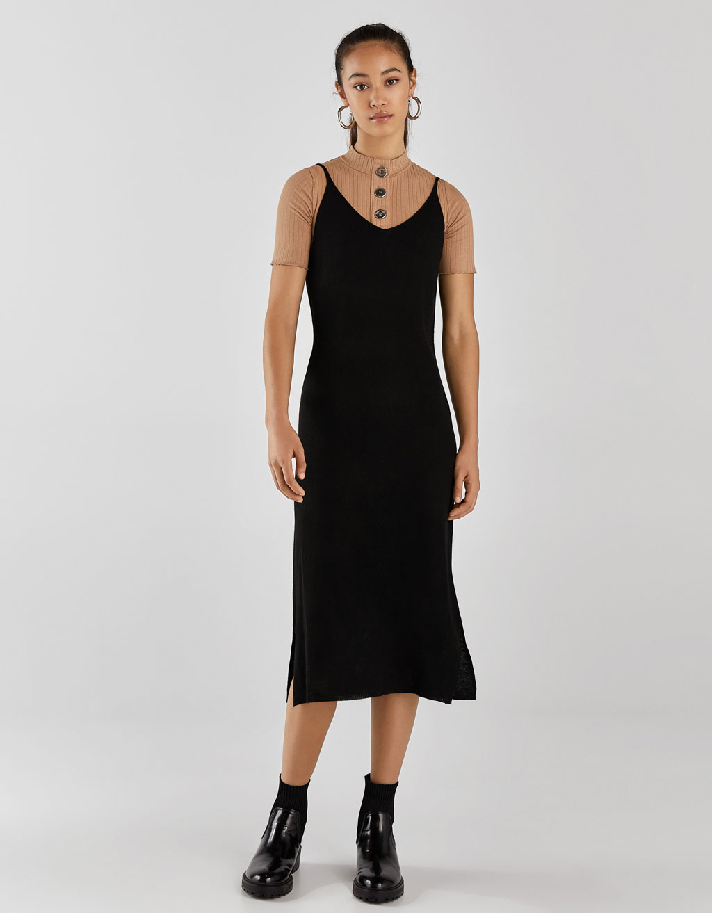 8ecabd0d7f413 Long knit dress - Dresses - Bershka United States