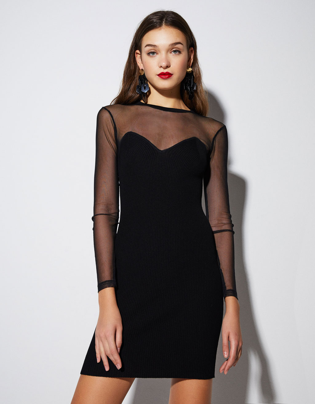 Contrast dress with sheer trims