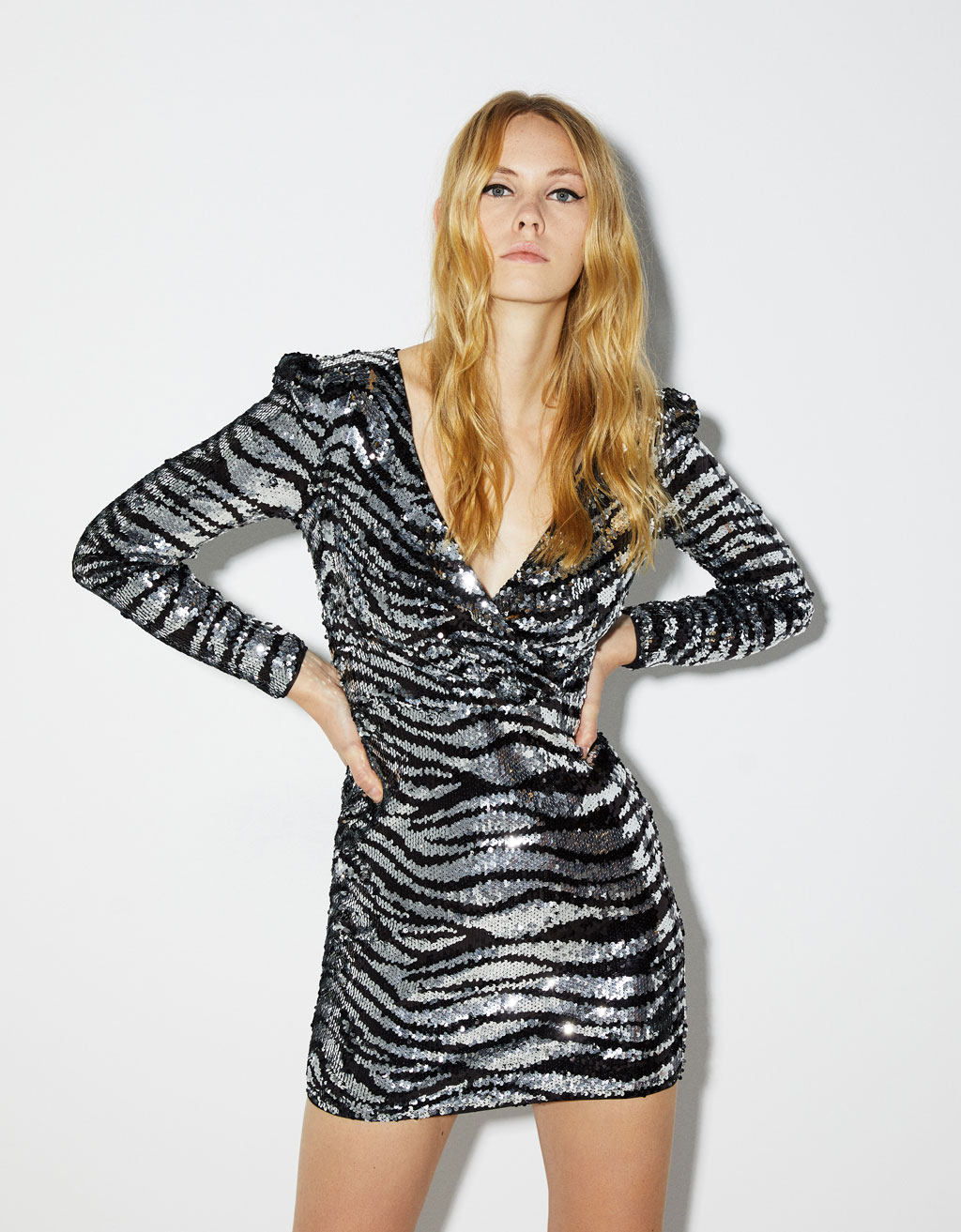 Sequinned zebra print dress