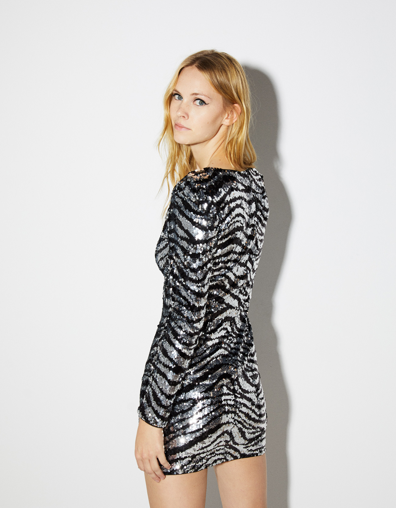 19ea84dc Sequinned zebra print dress - Micro Site Influencer - Bershka Armenia