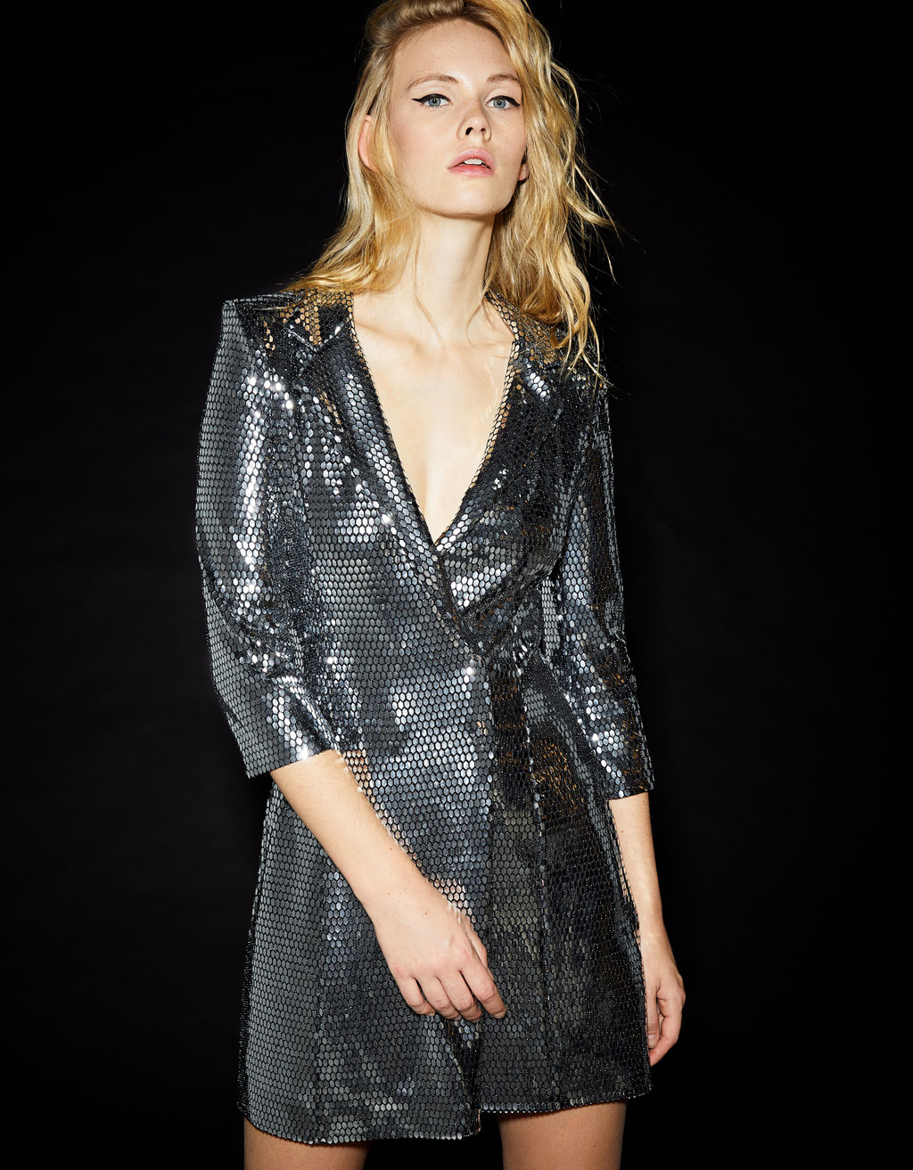 Metallic-effect blazer-style dress