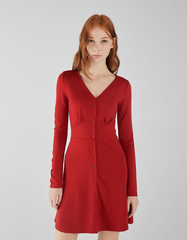 Rochie din tricot roma cu nasturi