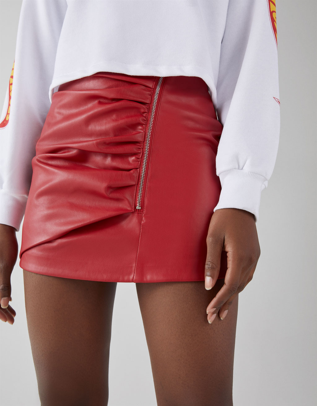 Faux Leather Skirt With Side Zipper by Bershka