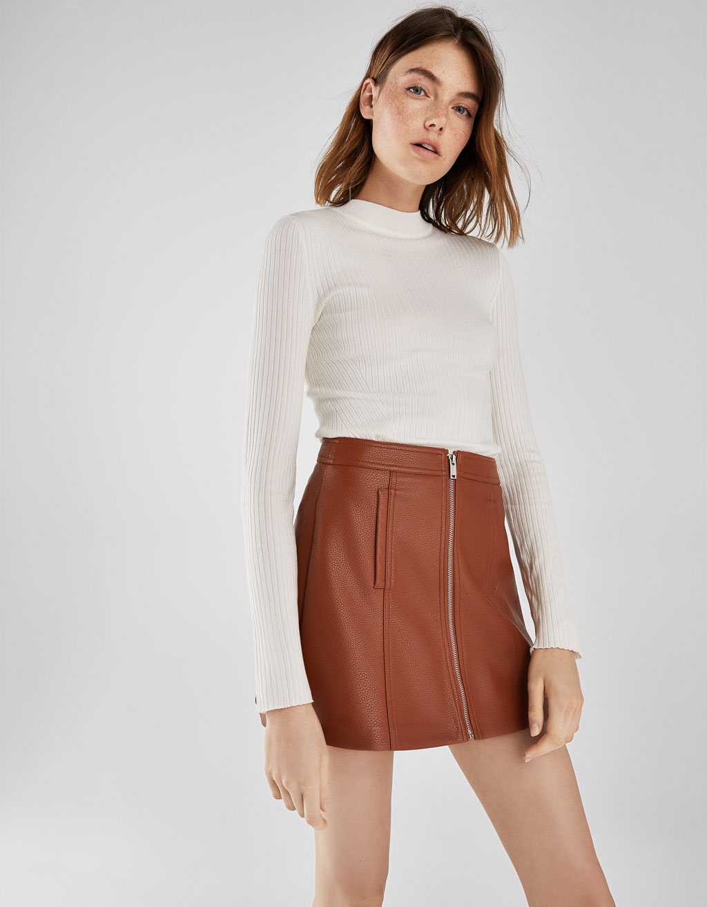 Zip-up skirt