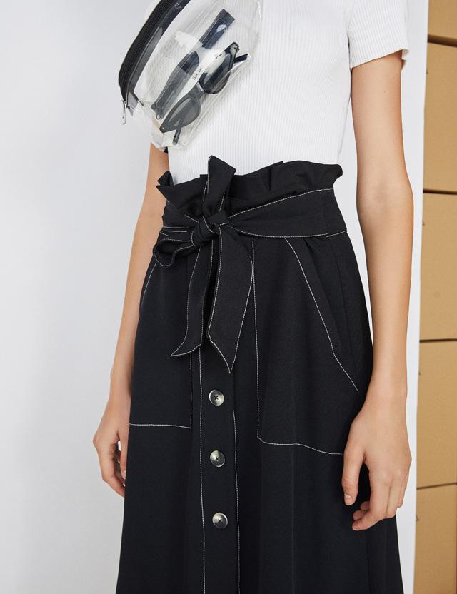 Paperbag-Midirock mit Gürtel