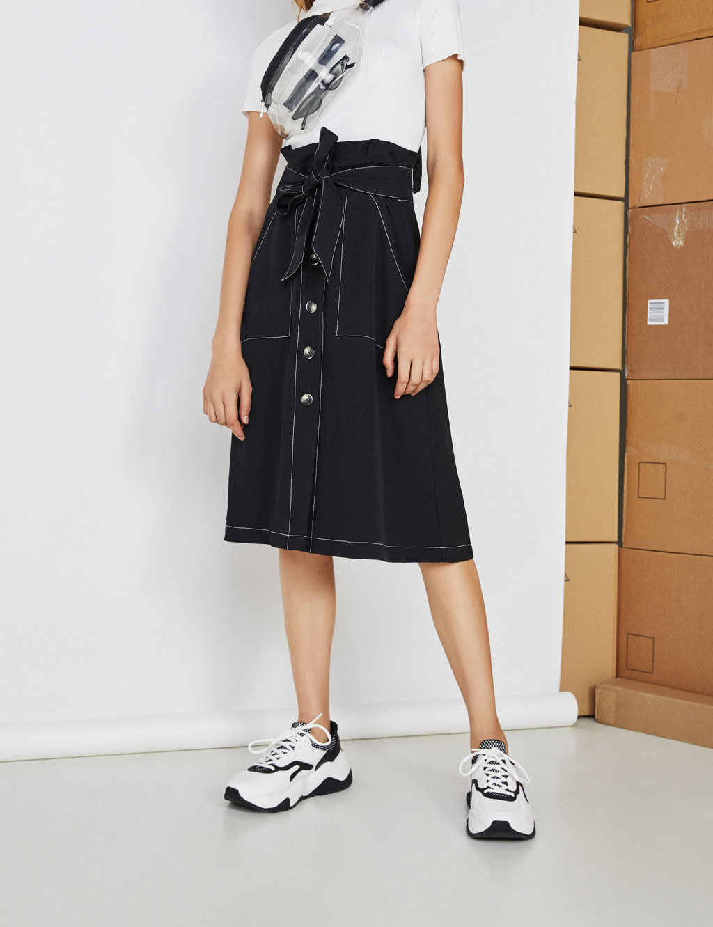 Paperbag midi skirt with belt