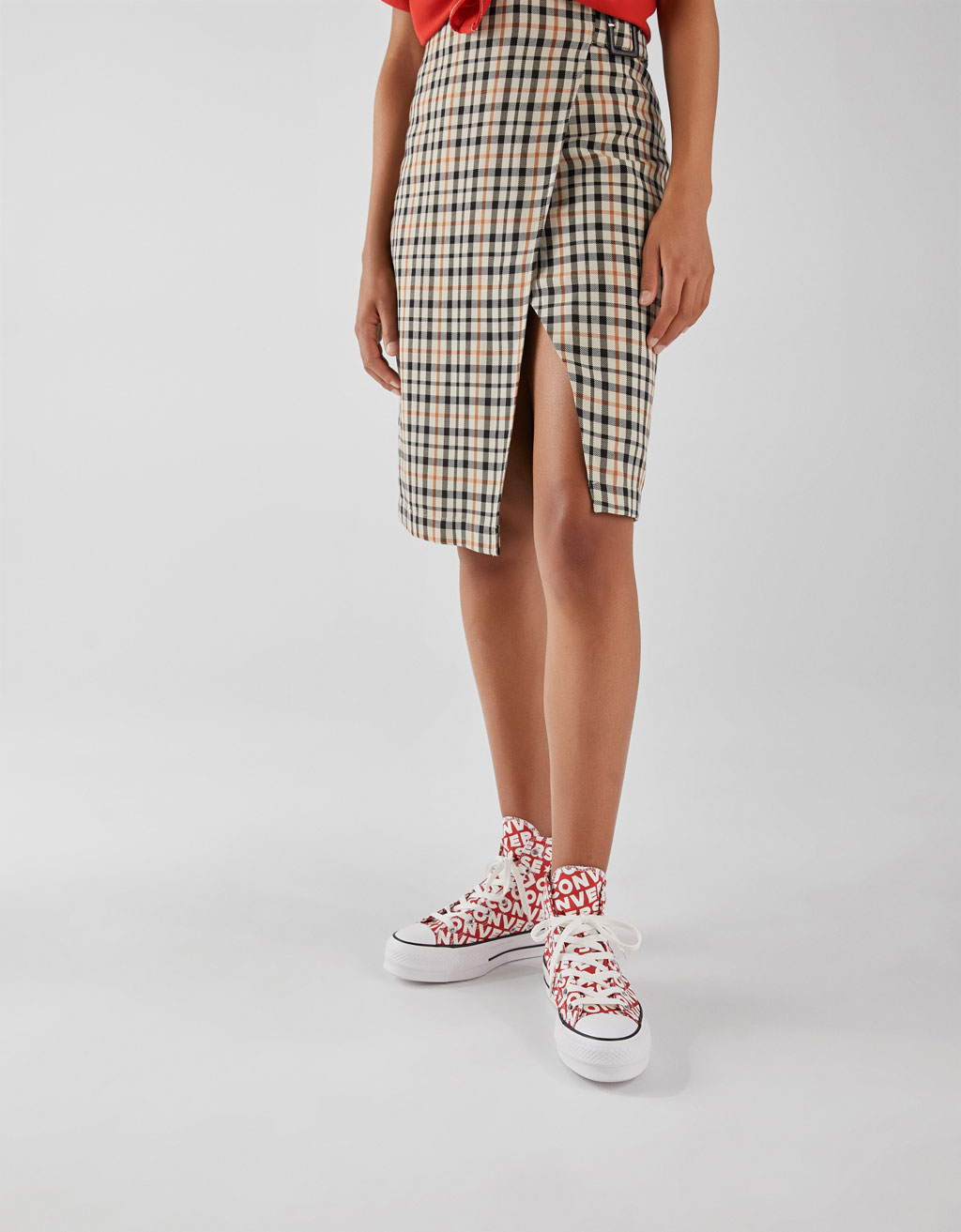 Checked midi wrap skirt
