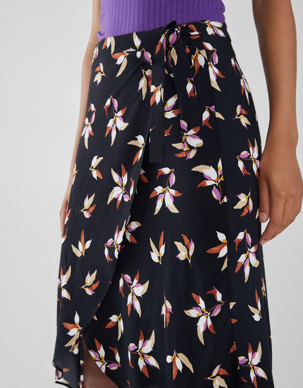 Floral Print Midi Skirt by Bershka