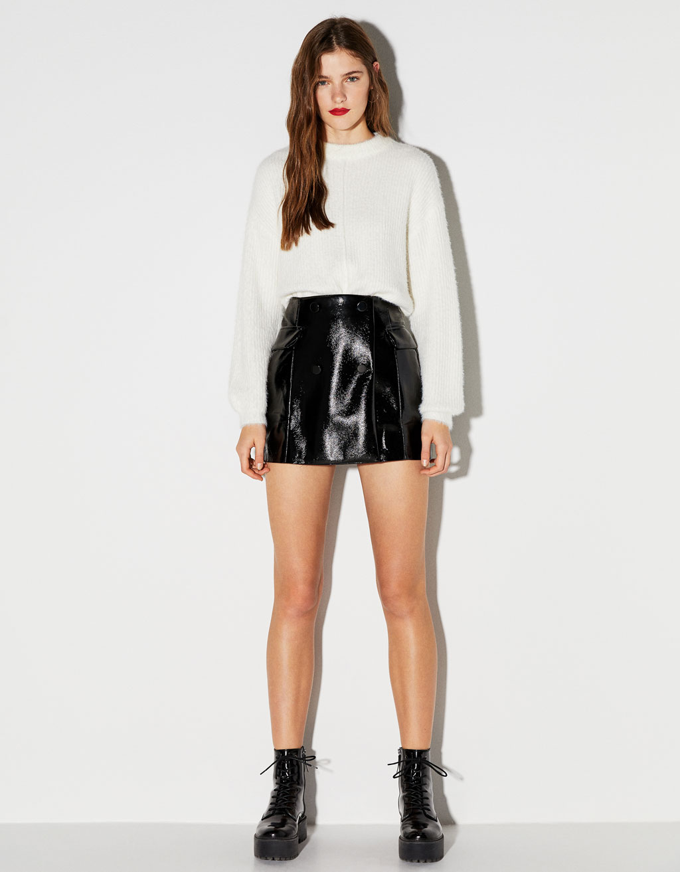 Мини юбка с виниловой отделкой by Bershka
