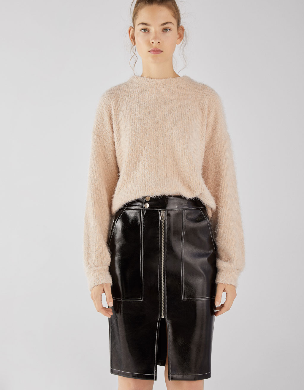 Zipped faux vinyl skirt