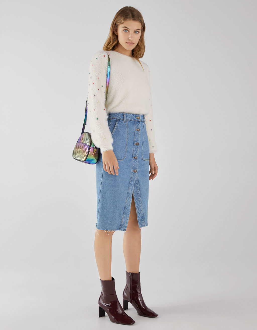 Gonna in denim midi con bottoni