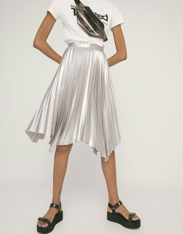 Plisseret nederdel metallic