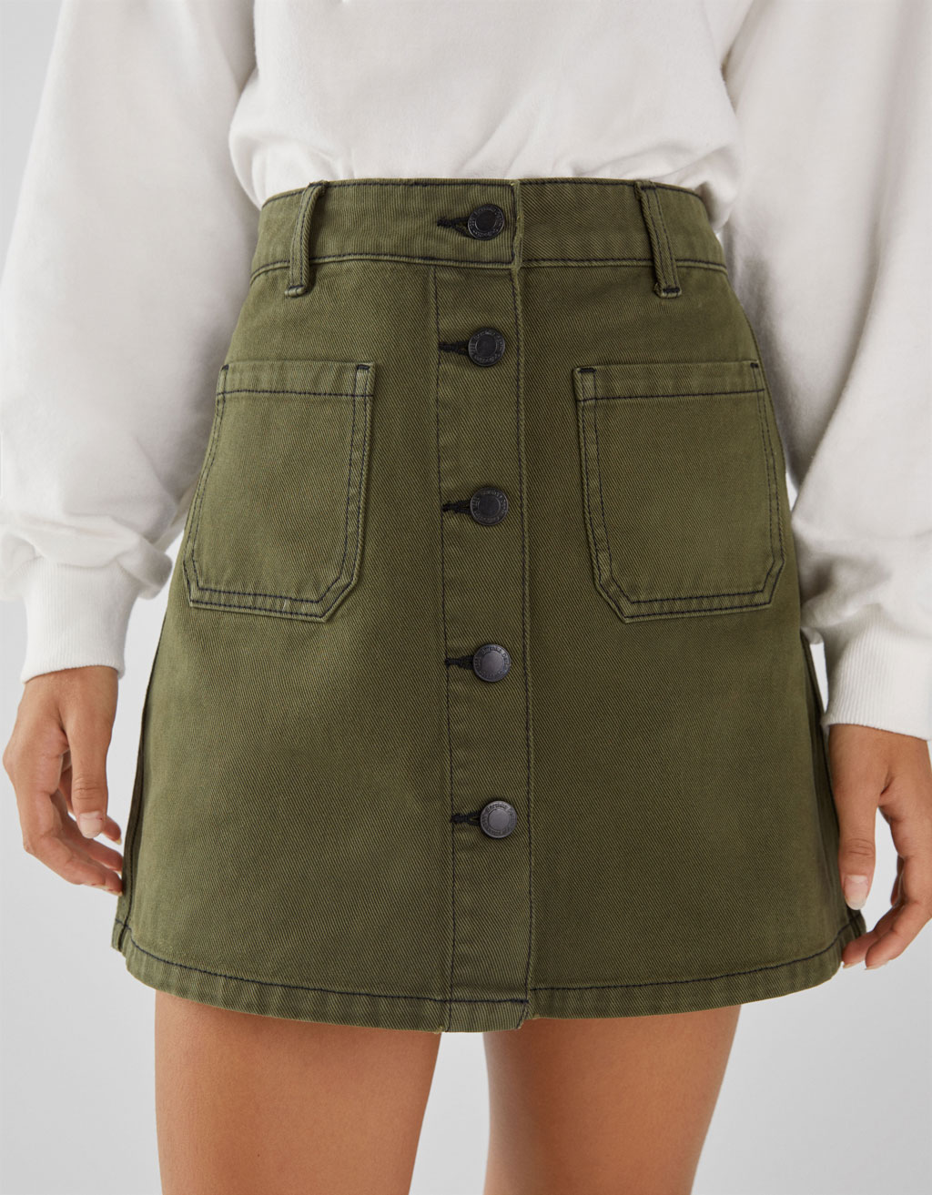 ce7853164ed52a Denim skirt with pockets - Denim - Bershka Lebanon