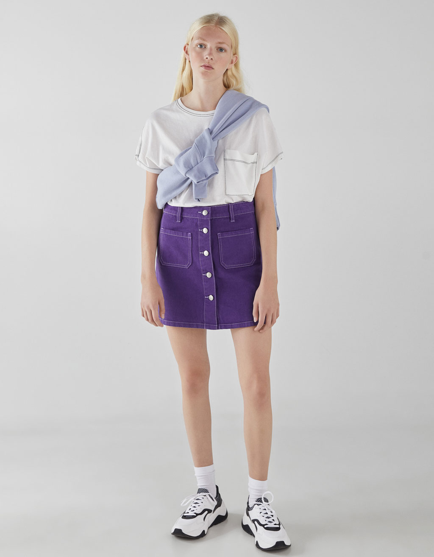 168333a40e Denim skirt with pockets - Skirts - Bershka Georgia