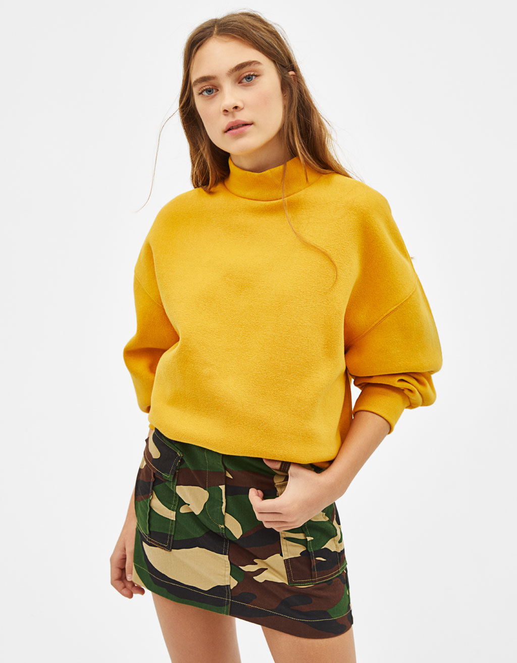 Skirt With Camouflage Print And Pockets by Bershka