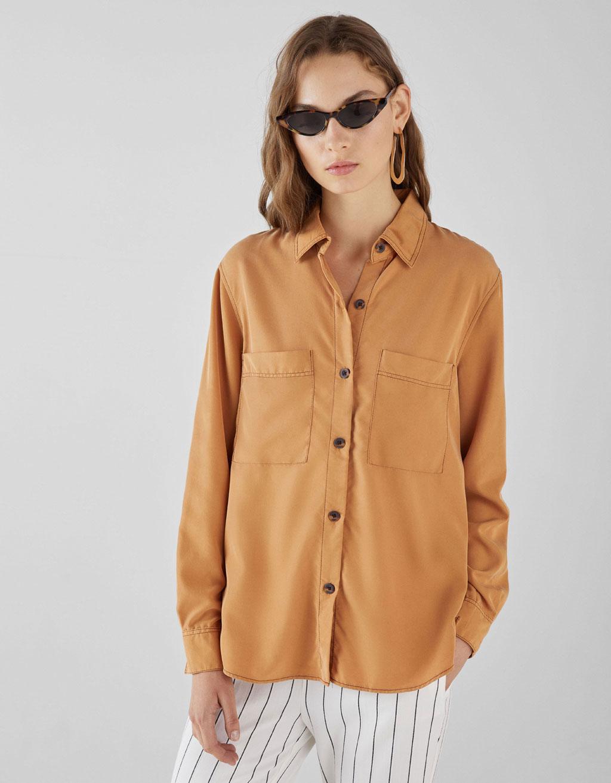 Overhemd Met Contrast Met Zakken by Bershka