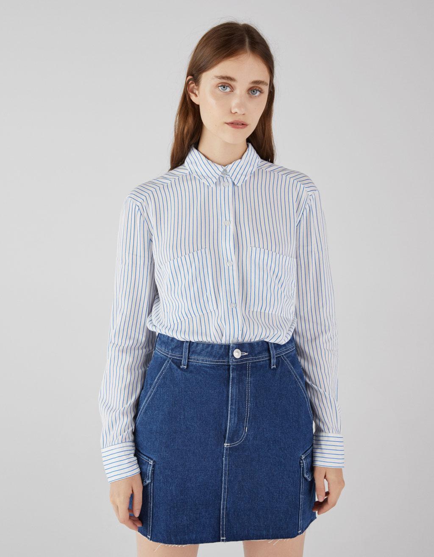 Robe chemise en jean manche courte
