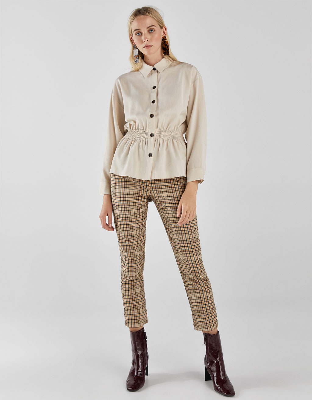 Tencel® shirt with gathered waist