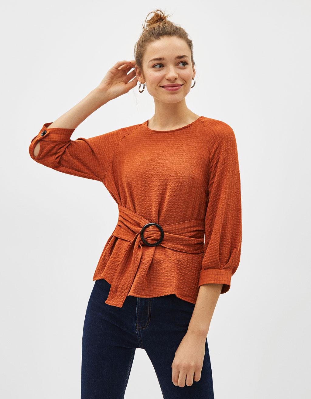 2dc20d298d 3 4 Length Sleeve Blouse With Belt by Bershka