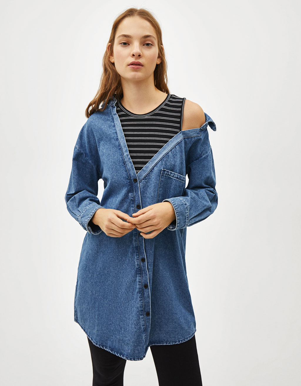 Asymmetric denim shirt