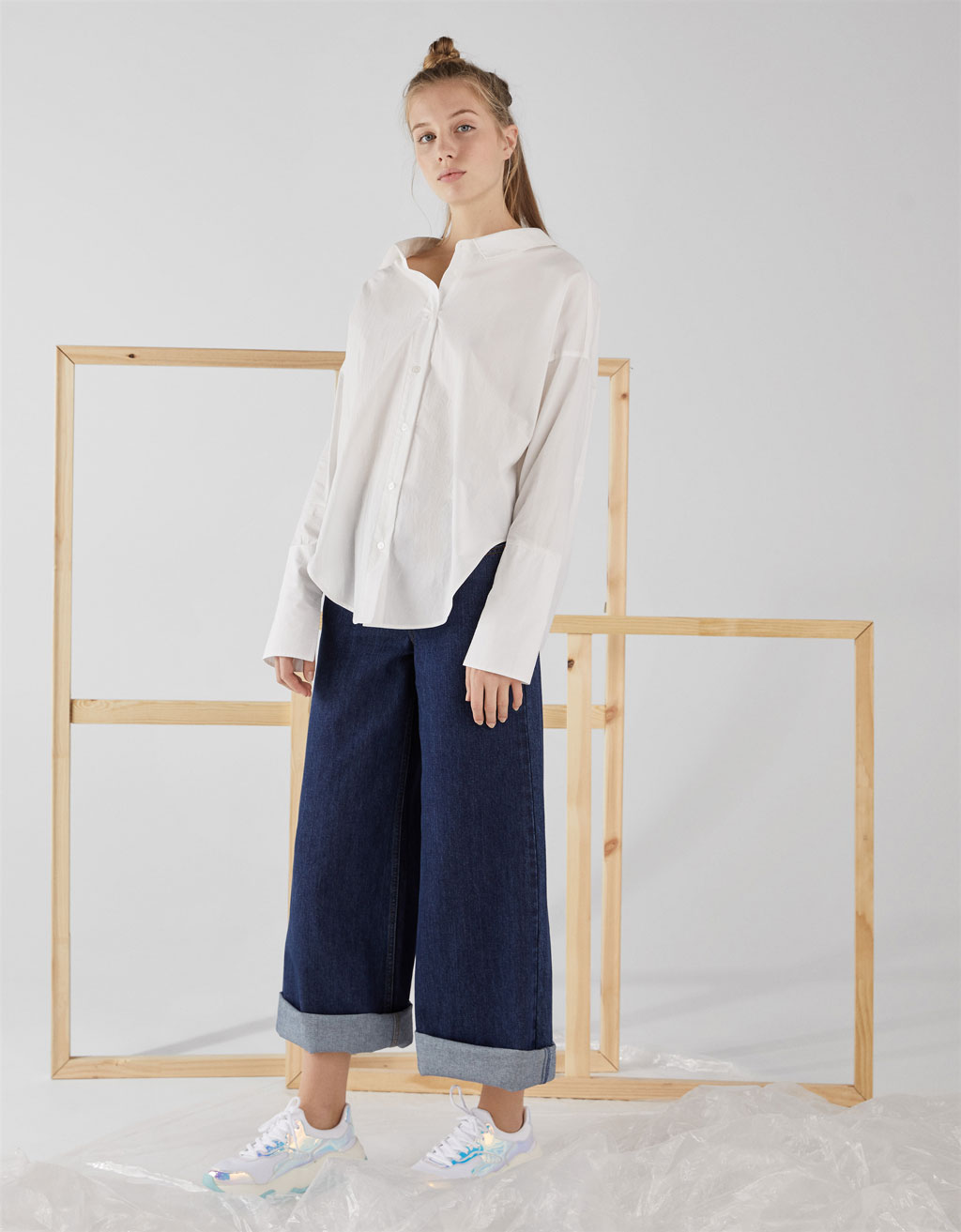 Oversized shirt with V-neck