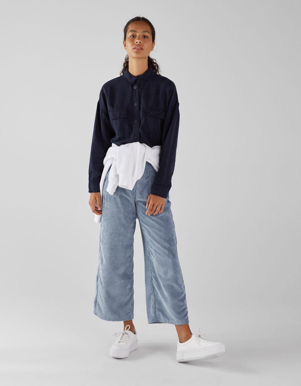 Embroidered Tencel® Shirt by Bershka