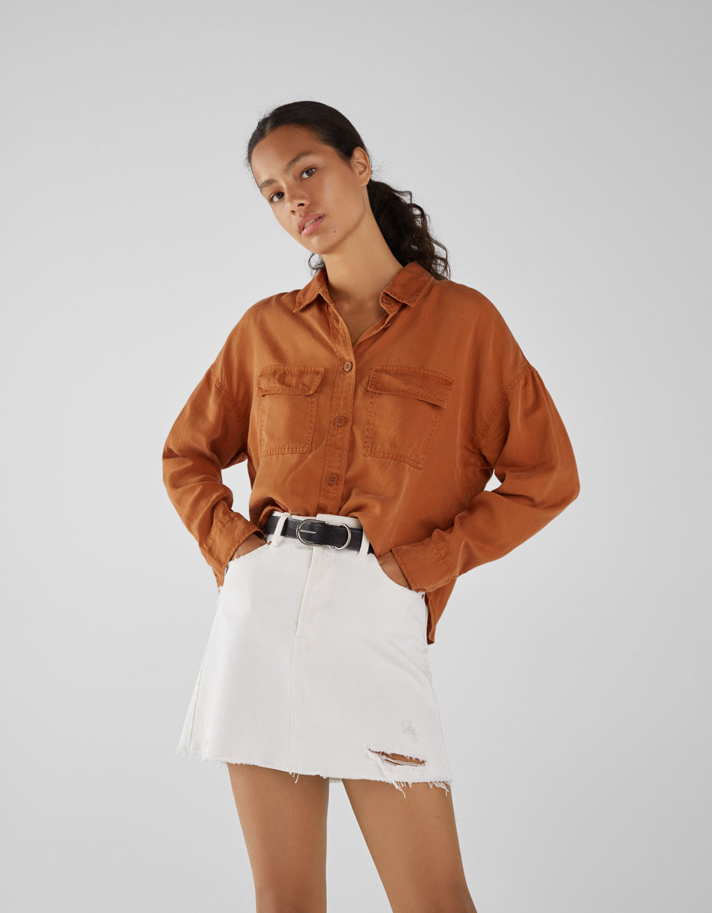 Embroidered Tencel® Shirt by Bershka