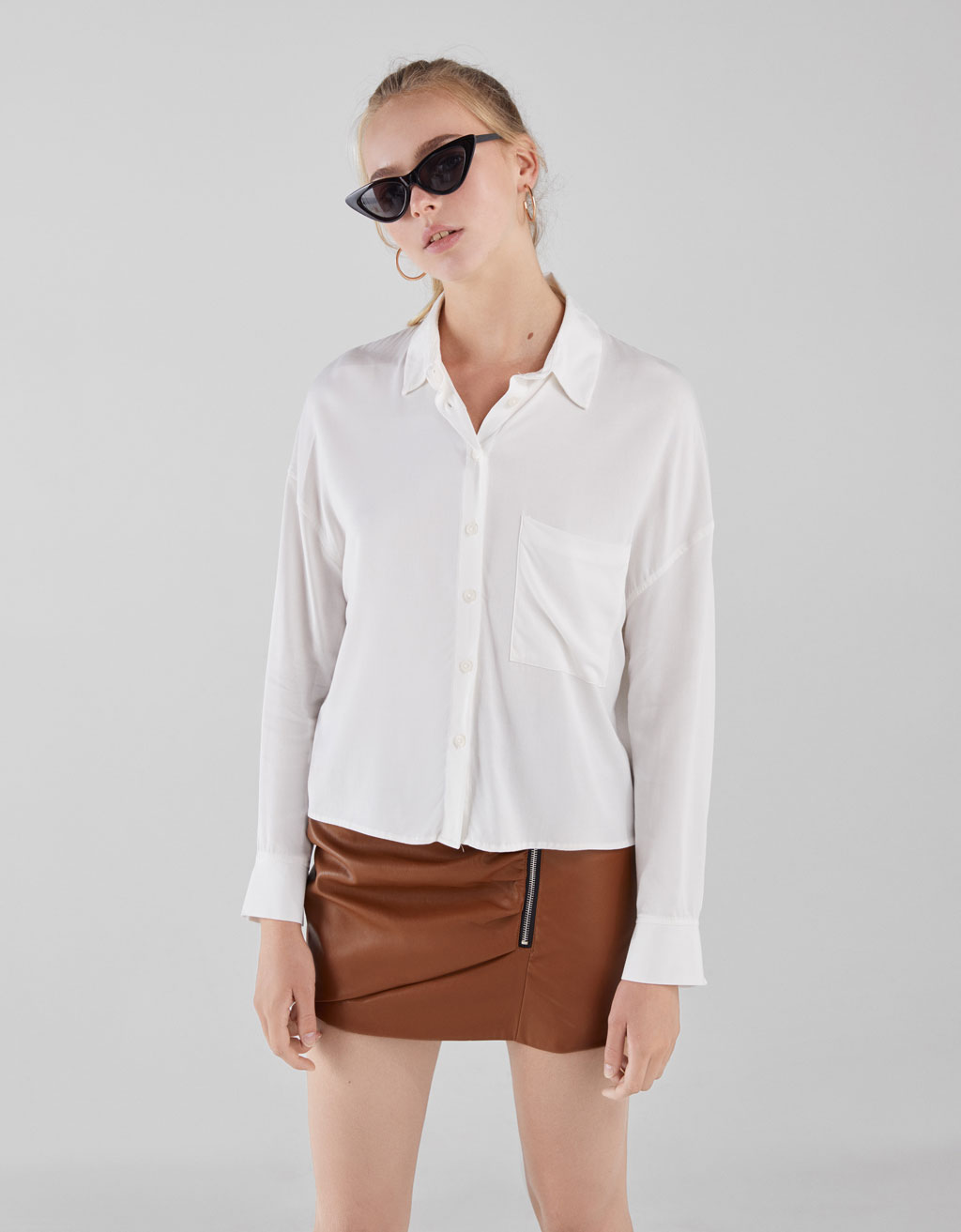 Long sleeve viscose shirt