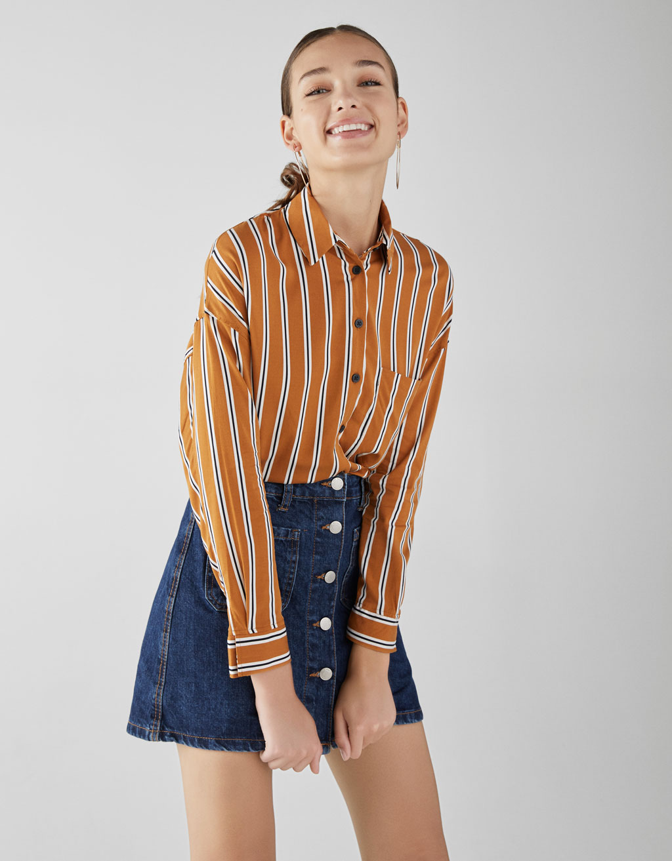 Long sleeve viscose shirt