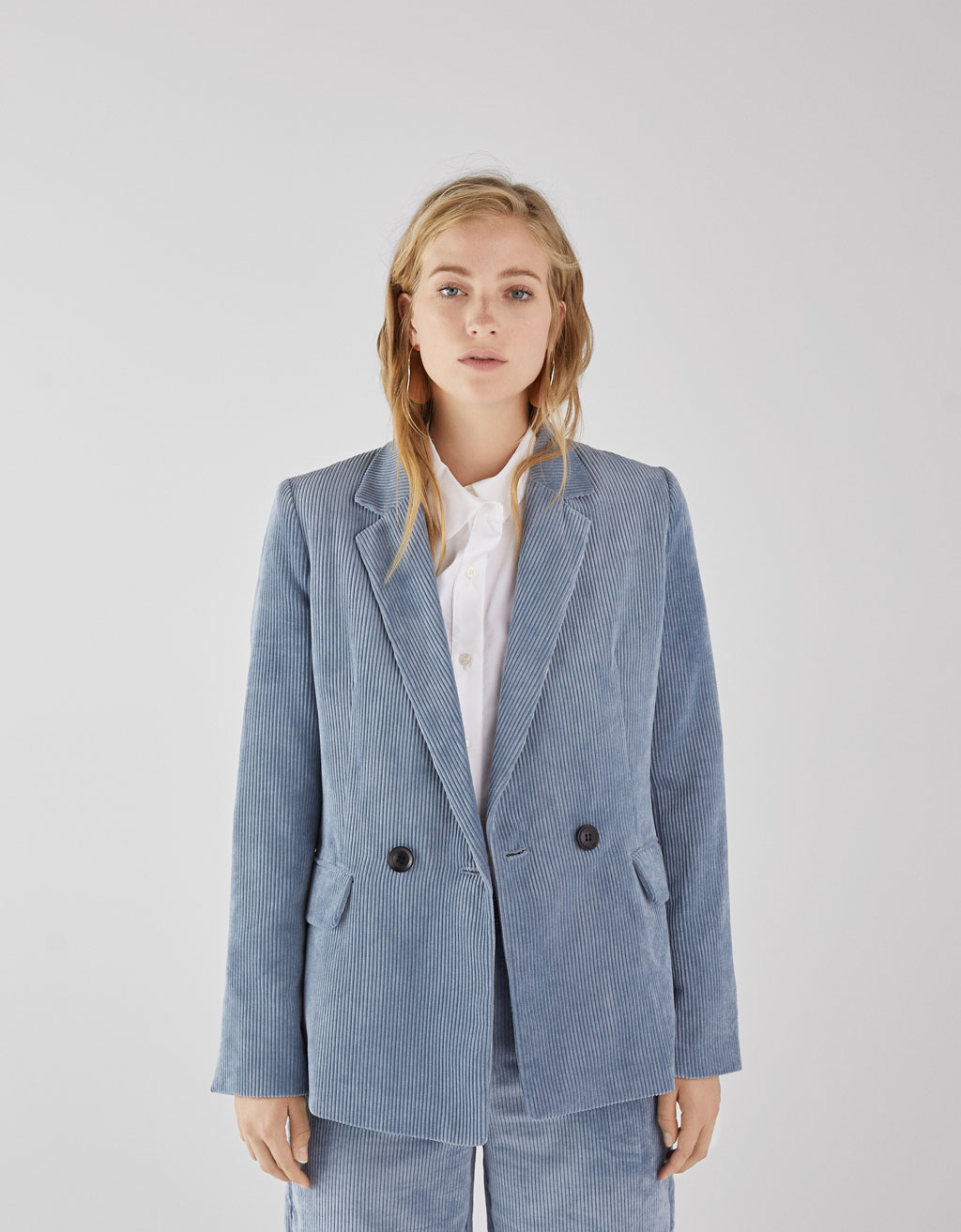 Double-breasted corduroy blazer