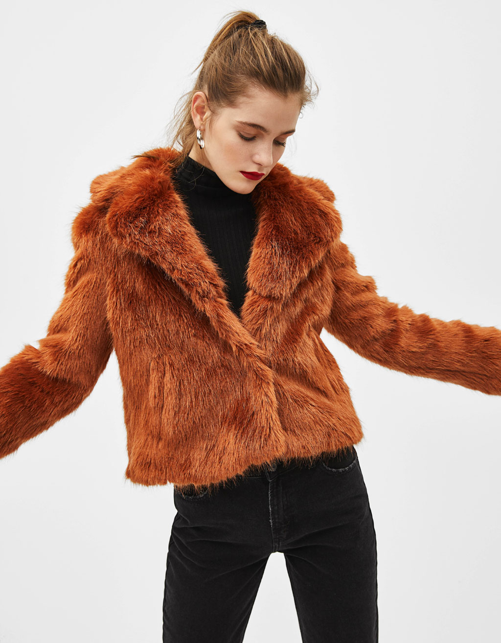 Short faux fur coat with lapel collar