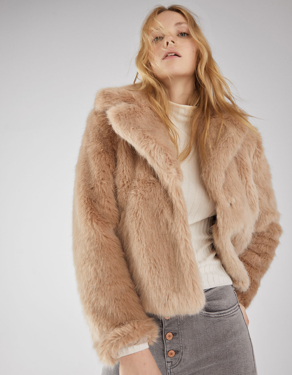 Short fuzzy coat with lapel collar