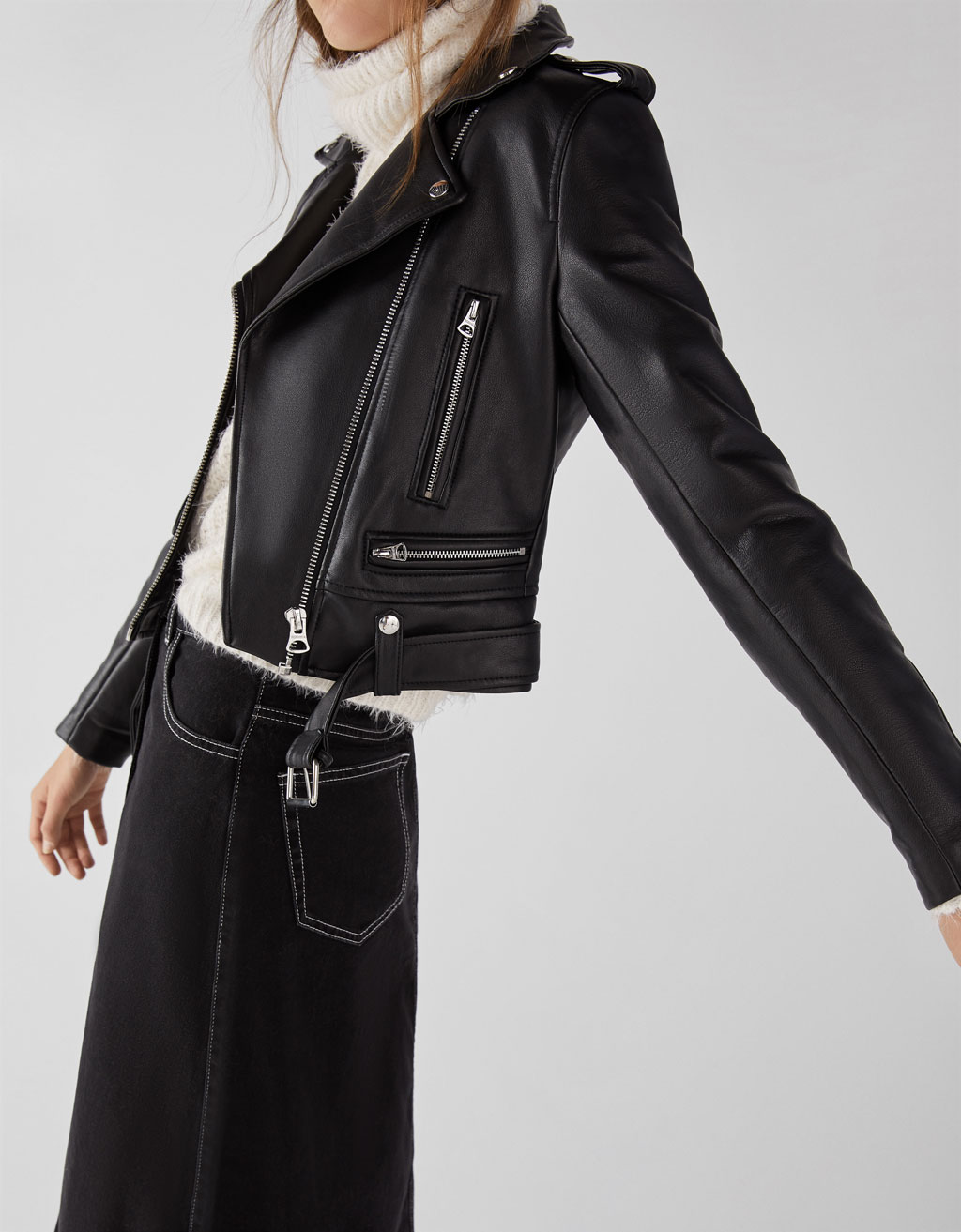Faux leather biker jacket with belt