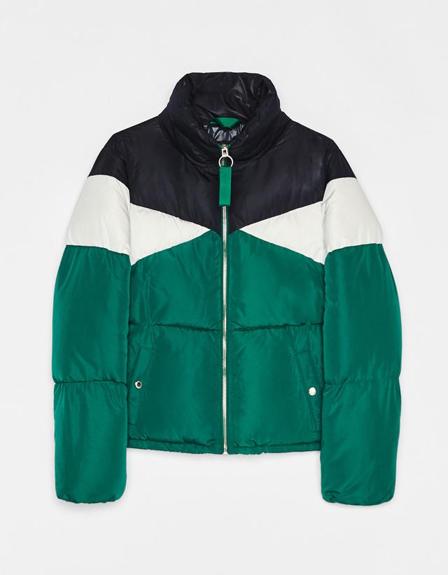 Dreifarbige Jacke mit Wattierung