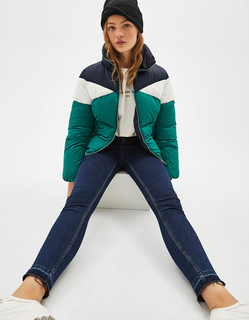 Three-tone puffer jacket