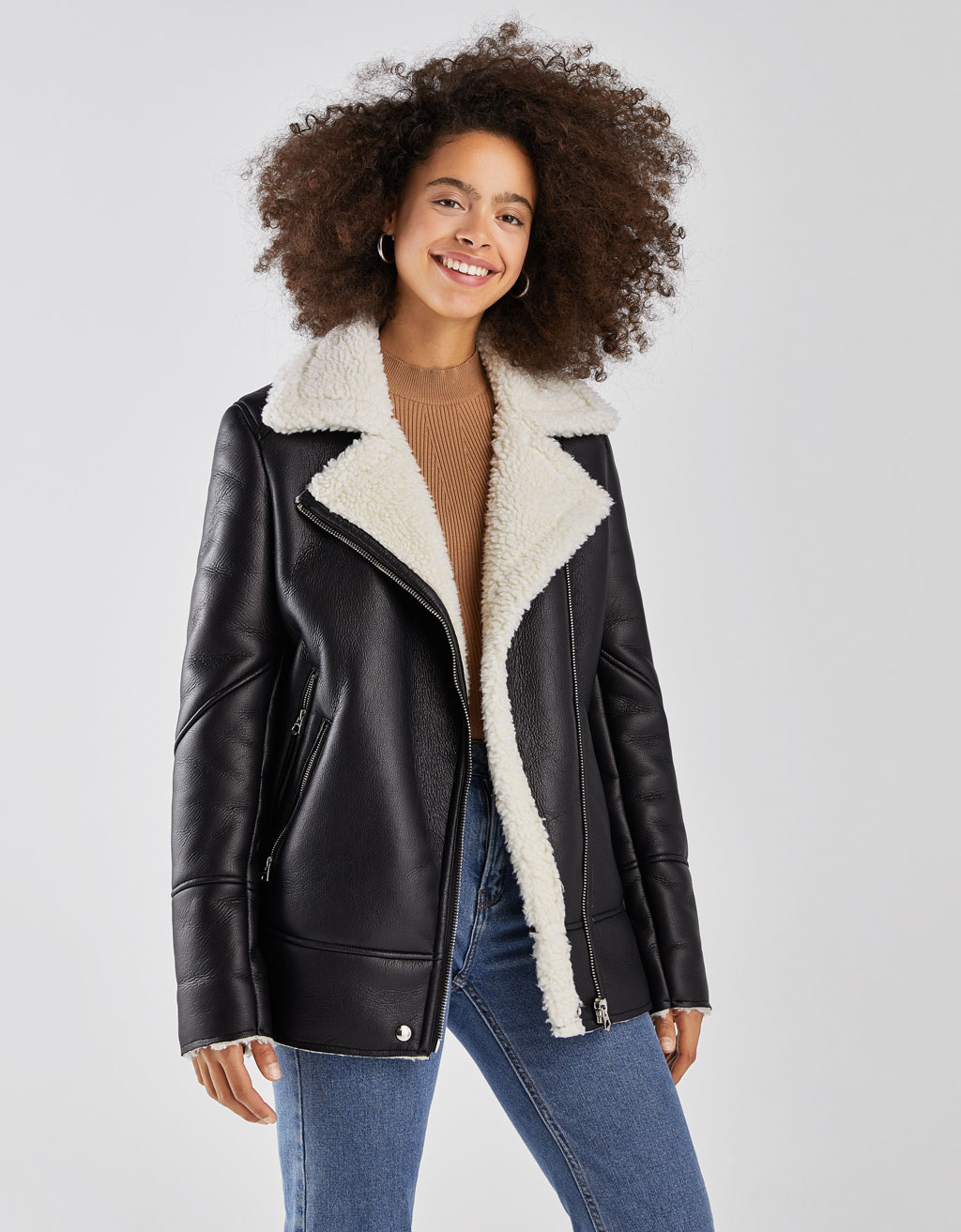 Faux leather biker jacket with faux shearling lining