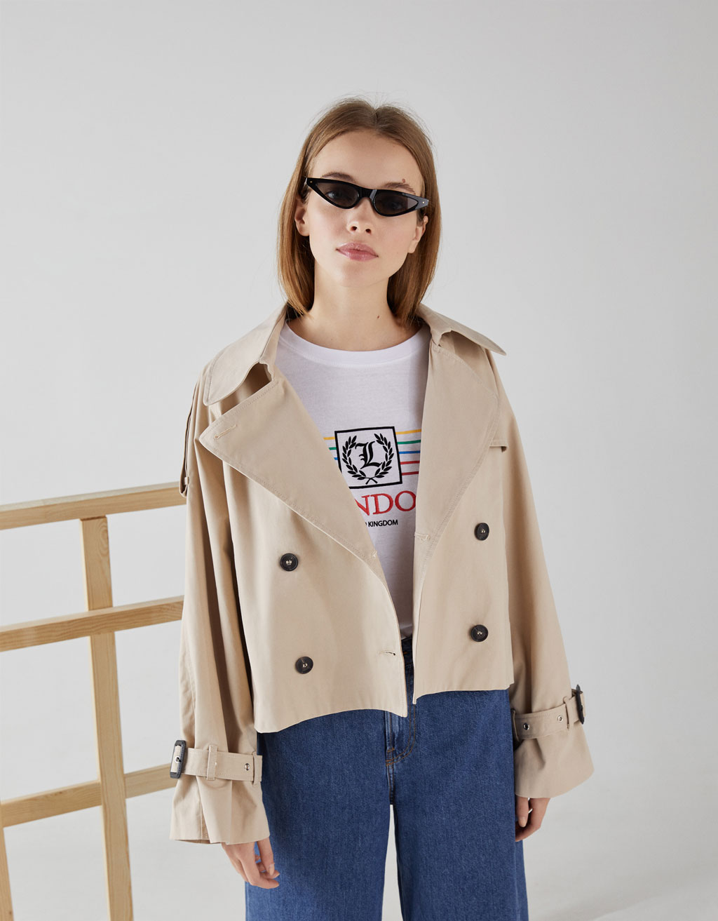 Short trench coat-style jacket